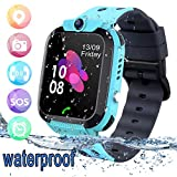 Smartwatch Kinder Tracker Kids Waterproof Kinderuhr Telefon mit SOS Voice Chat Uhr für Kinder Blue