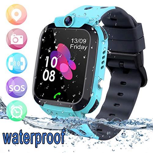 Bhdlovely Smartwatch Niños Reloj GPS/LBS a Prueba de Agua - Reloj Infantil Reloj Digital Reloj Despertador SOS Reloj Inteligente para Niños de Edad 3-12 Niño (Azul)