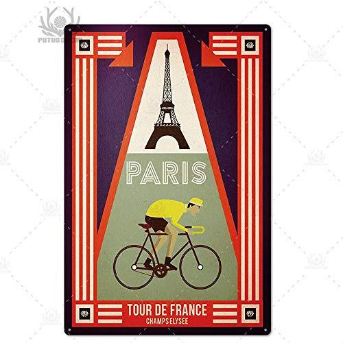 ivAZW Metal Poster Tin Sign Plaque Nostalgic-Art Paris Vintage Plaque Metal Vintage British Coffee Bar House Home Decorative 7.8X11.8Inch Th5500