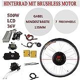 YIYIBY - Kit de Motor de buje eléctrico para Rueda Trasera de Bicicleta, 28', 36 V, 500 W, con Pantalla LCD