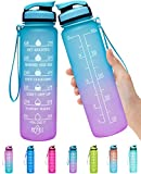 Elvira 32oz Large Water Bottle with Motivational Time Marker & Removable Strainer,Fast Flow BPA Free Non-Toxic for Fitness, Gym and Outdoor Sports-Green/Purple Gradient