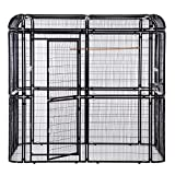 PANEY Large Black Iron Big Walk-in Bird Aviary Cage Heavy Duty Parrot Cockatiel Macaw Finch Birdcages