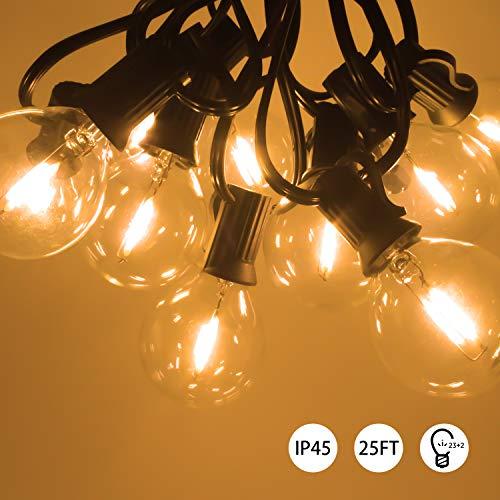 Etrogo LED Lichterkette außen 25FT/7.6m Wasserdicht Warmweiß 2700K 25FT / 7.6m mit 23 + 2 LED Lampen G40 für Indoor Outdoor Party Garden Porch Dekorationen