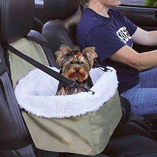 LYY Coche Asiento Elevador for Perros, Asiento Delantero Transportador de Piel de Oveja de Revestimiento for sillas de Cremallera de Transporte de Mascotas Suministros