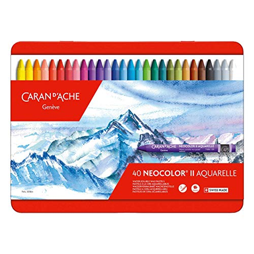 Caran D'ache Neocolor II - Juego de ceras de color (40 unidades, caja metálica)