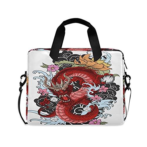 Funda para ordenador portátil con diseño de dragón, diseño de flores de animales, maletín de 13 a 14 de 15,6 pulgadas, con correa para el hombro, para mujeres, hombres, niñas y niños