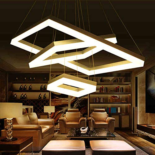 5151BuyWorld Lamp Moderne LED-lamp, hanger, voor eten, woonkamer, slaapkamer, rechthoekig, acryl, voor moderne bevestiging, 2 ringen 100 x 70 cm, 80 x 50 cm, 2 ringen 100 x 70 cm, 80 x 50 cm