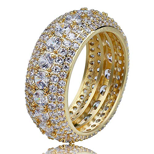 TOPGRILLZ 5 Row 10mm Gold Plated Bling Iced Out CZ Royal Simulated Diamond Eternity Wedding Engagement Band Ring for Men Hip Hop (Gold, 10)