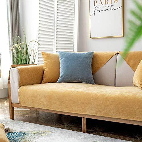 Espesar Seccional Funda Para Sofa Resistente A Las Manchas Funda De Sofá Para Mascotas Niños Impermeable Color Sólido Cubre Sofá Mueble Protector Vendido Por Piece Amarillo 35x83inch (90x210cm)