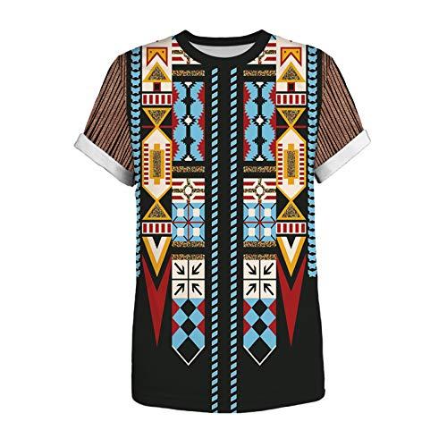 t Shirt Druck Poloshirt Oberteile Poloshirts Tee Shirts T-Shirt Top Männer Vintage Ethnic Style Print Rundhalsausschnitt Kurzarm (5XL,4Schwarz)