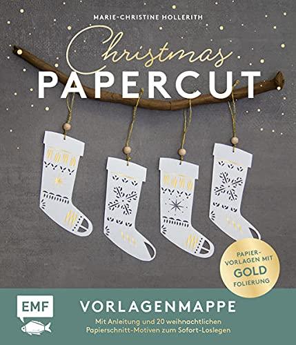 Set: Christmas Papercut – Die Vorlagenmappe mit Anleitung und 20 weihnachtlichen Papierschnitt-Motiven zum Sofort-Loslegen: Ausgewählte Papiervorlagen mit Goldfolierung