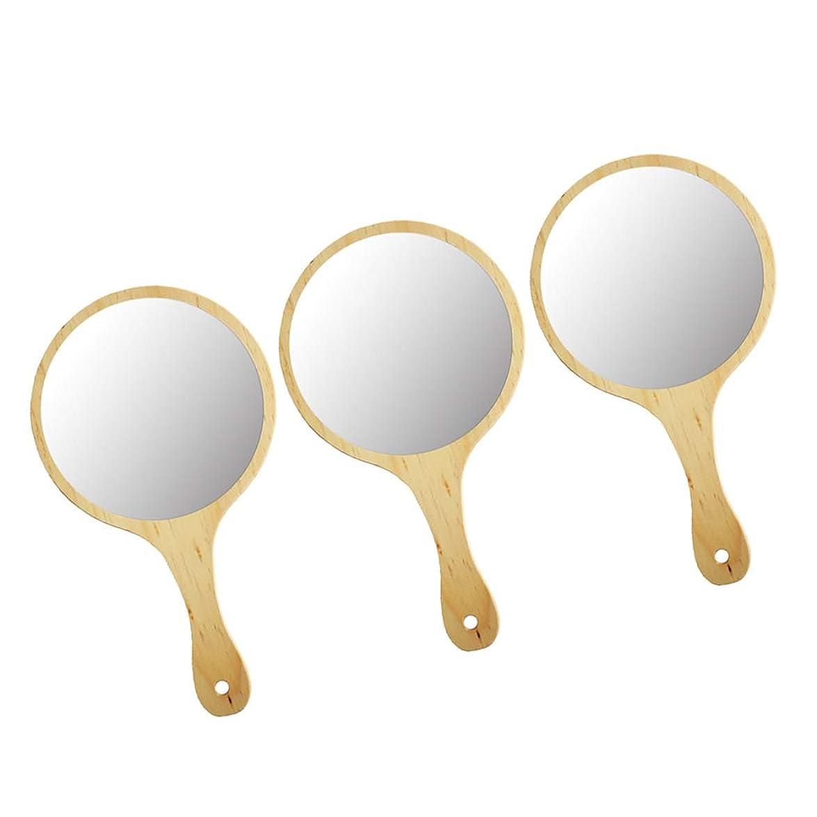 好意的チューインガム隠すCUTICATE 化粧鏡 手持ち ハンドミラー メイクアップミラー 木製ハンドル フレーム メイク 化粧 フェイスケア 3個