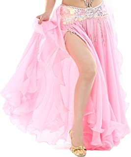 Women's Belly Dance Tiered Skirt Long Swing Skirts Party Stage Costume