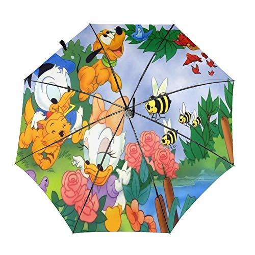 Paraguas Anti-Ultravioleta Compacto De Viaje Triple De Apertura/Cierre Automático, Sombrilla Plegable A Prueba De Viento para Exteriores, Jardín del bebé del Pato Donald de Disney