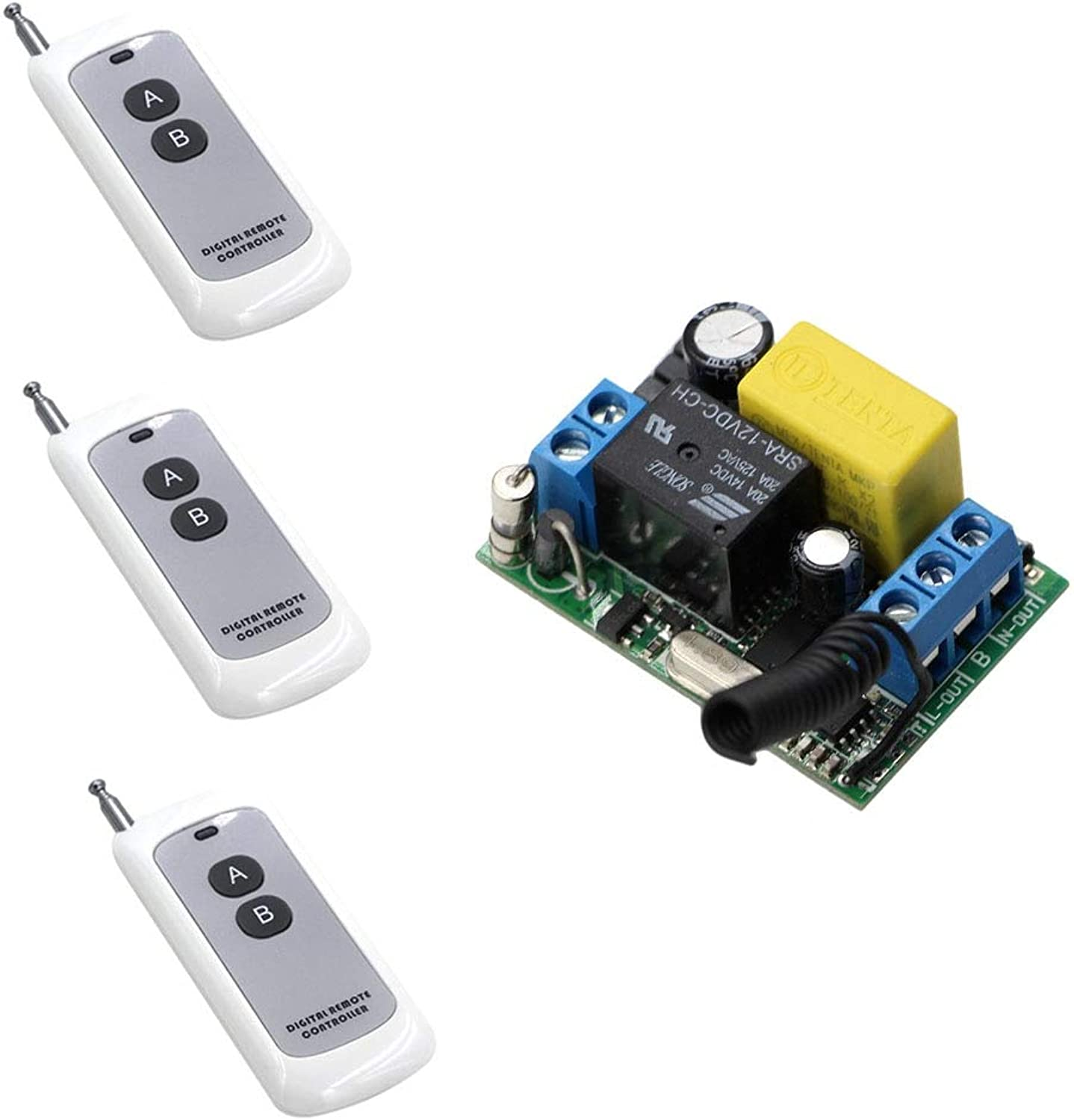 Hot Sale AC 220V 3X Digital Remote Controller 1 Channel Relays Smart RF Wireless Remote Control Light Switch for Light & Windows  (color  315mhz)