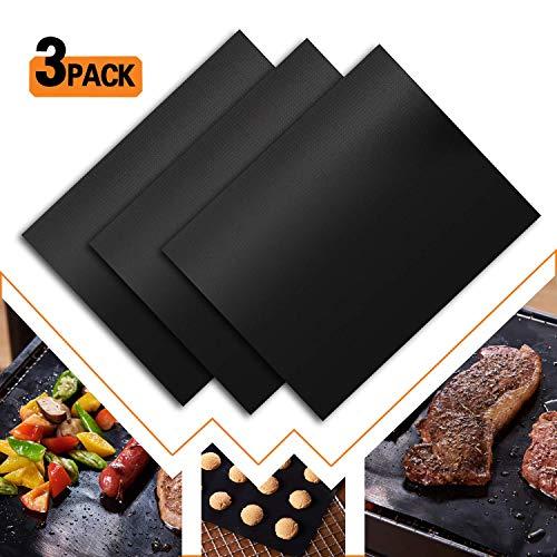 ALLRONDO GRILLOX® Grillmatte [ 3er Set ] Extra Groß zum Grillen und Backen BBQ Grilmatte 50x40 cm - TÜV geprüft