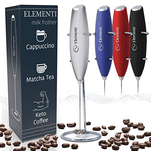 Elementi Electric Milk Frother Handheld, Matcha Whisk, Milk frother for Coffee Frother Electric Handheld Drink Mixer, Electric Mini Whisk Small Hand Mixer, Frappe Maker, Foam Maker for Coffee Mixer