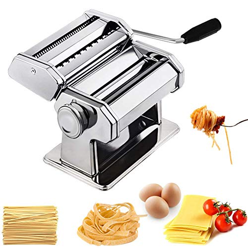 Hiki Ziki Pasta Maker Machine, Pasta Crank Stainless Steel Pasta Roller Machine,Manual Noodle Maker Pasta Cutters with 2 Blades,Make Fresh Spaghetti or Fettuccini