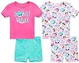 Rene Rofe Baby Girls' Pajama Set - 4-Piece Super Soft Shorts and T-Shirt Set, Size 24 Months, Donut Wake