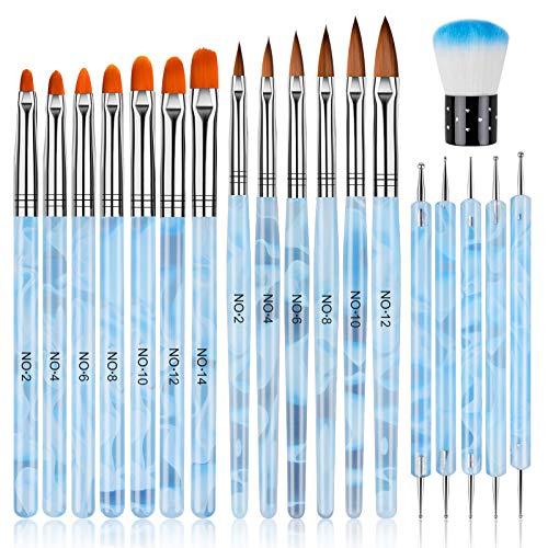 EBANKU 19 PCS Pinsel für Gelnägel, Nägel Pinsel NäGel Pinselset Professional Acryl Pinsel FüR NäGel Gel NäGel Malerei Zeichnen Werkzeuge Tragbar GelnäGel ZubehöR (Blau)