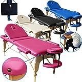 Beltom Camilla de Masaje 3 Zonas Nuevo Modelo portatil Mesa Cama Banco Plegable Reiki - Rosa