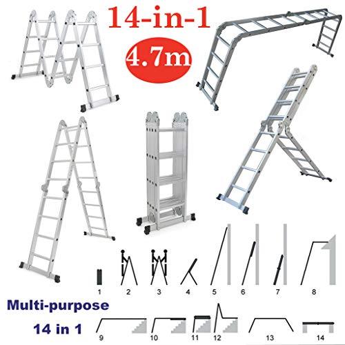 14 in 1 Anlegeleiter 470cm Mehrzweckleiter Gerüst leiter mit Arbeitsbühne Alu Verstellbar Klappleiter Gelenkleiter Leiter Stehleiter bis 150kg belastbar(4X4 Stufen)