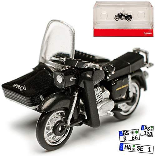 MZ ES 250 / 2 mit Seitenwagen Schwarz 1956-1973 H0 1/87 Herpa Modell Motorrad
