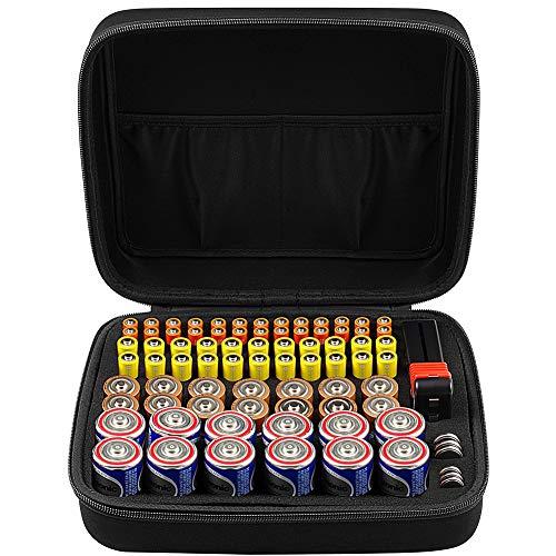 Batterie Aufbewahrungsbox Batteriebox - Hält 80 Batterien AA AAA C D 9V - UMFASSEN Tacklife Con:P Batterietester Akkutester Batterieprüfergerät - Schwarz