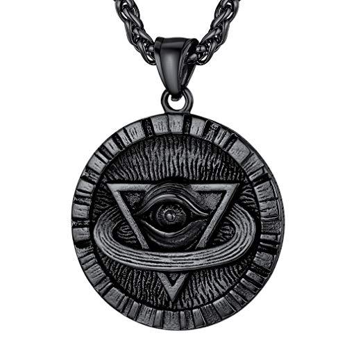 FaithHeart Horusauge Amulett Herren Schwarz Anhänger mit 55cm+5cm Weizenkette Valentinstag