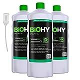BiOHY Lavavajillas a mano (3 botellas de 1 litro) + Dosificador | Libre de fosfatos | libre de químicos dañinos y biodegradables | Adecuado para la restauración, la industria y el hogar (Spülmittel)