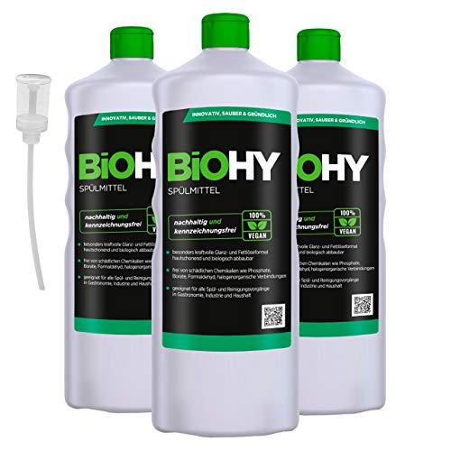 BiOHY Spülmittel (3x1l Flasche) + Dosierer | Frei von schädlichen Chemikalien & biologisch abbaubar | Glanz- & Fettlöseformel | Für Gastronomie, Industrie und Haushalt geeignet