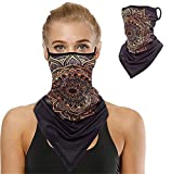 Bandanas for Face Scarf Mask Ear Loops Face Balaclava for Protection,Neck Gaiters for Women and Men 1Pcs (HE041)