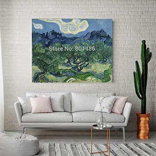 JXFFF Kein Rahmen 60x75cm 3D HD Leinwanddruck Olivenbaum Wandkunst Leinwand gedruckt Home Decor Grüner Baum Landschaft Malerei Leinwand Büro Wanddekoration