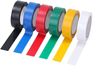 Pasow 6 pcs General Purpose Electrical Tape PVC Electrical Wire Insulating Tape Assorted Colors