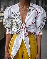 The Drop Haut pour Femme, Court, Noué sur le Devant, Blanc à Imprimé Floral, par @signedblake, Taille M