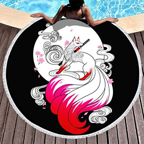 MINNOMO Toalla de playa redonda con diseño de 9 colas, estampado de espada, psicodélico, ultrasuave, color blanco, 150 cm