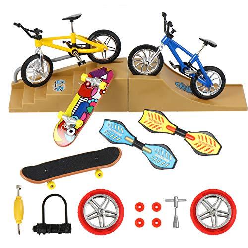 FAVOMOTO 18 Piezas de Minijuego de Juguetes de Skate Park Kit de Bicicleta de Dedo Skateboard Scooter Swing Tablero de Pendiente Escena de Reemplazo de Ruedas Herramientas para Niños