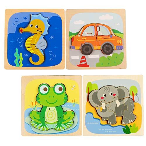 4pcs Rompecabezas de Animales para Niños Puzzles de Madera Educativos para Bebé Dibujo de Animal Puzzles Infantiles Colorido con Placa Juego Niña 2 años a 6 años Juguetes Preescolares