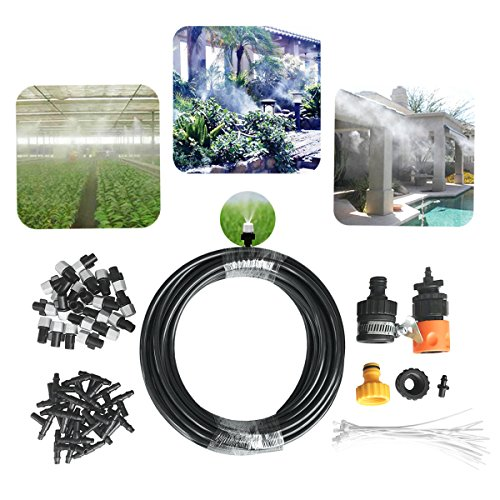 "DIY Misting System 50ft Misters Cooling Outdoor System Irrigation Sprinkle with 20pcs Misting Nozzles+3/4"" and 1/2"