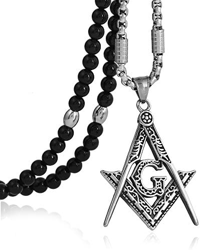 BLEUM CADE Stainless Steel Masonic Symbol Pendant Necklace with Black Natural Agate Stone Chain product image