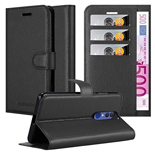 Cadorabo Hülle für Alcatel 3 2019 in Phantom SCHWARZ - Handyhülle mit Magnetverschluss, Standfunktion & Kartenfach - Hülle Cover Schutzhülle Etui Tasche Book Klapp Style