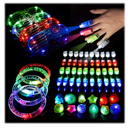 FUN LITTLE TOYS 60PCs LED Light Up Toys Glow in The Dark Party Supplies, Glow Stick Pack for Kids Xmas Party Favors Including 40 Finger Lights, 12 Flashing Bumpy Rings, 4 Bracelets, 4 Flashing Glasses