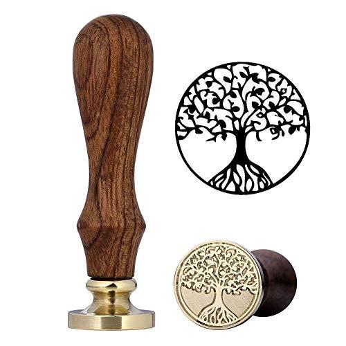 Wilk Craft Herramienta de Toma de artesanía Hacer Sello de la Cera Herramienta Tampón de Perlas de lacre Estrellas con Cuchara de fusión Velas para la decoración (árbol de la Vida Set)