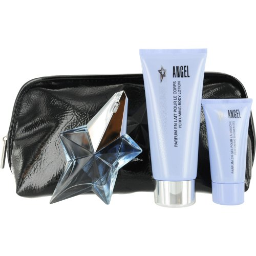 Thierry Mugler Angel Set (Eau De Parfum Spray Refillable and Shower Gel and Body Lotion and Cosmetic Bag)