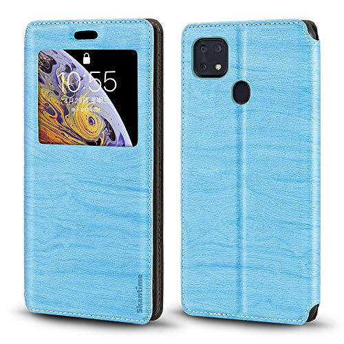 ZTE Zmax 10 Case, Wood Grain Leather Case with Card Holder and Window, Magnetic Flip Cover for ZTE Z6250