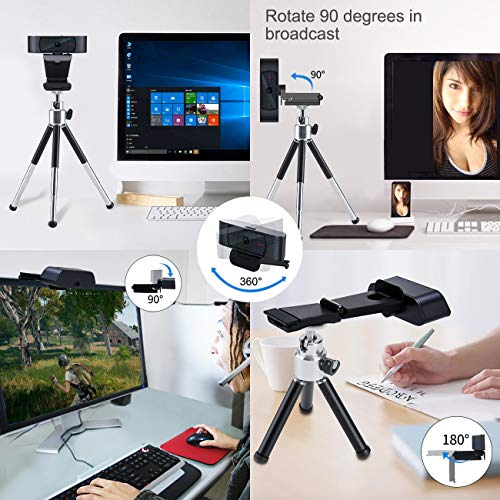 Angetube Webcam 1080p mit Sichtschutz, Videospiel Konferenz Aufzeichnung mit Autofokus Webcam mit Mikrofon und PTZ-Sockel für Windows IOS Linux Google PC Laptop Desktop Skype und Xsplit