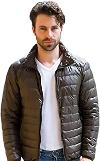 Sentaoa Mens Down Jacket Stand Collar Quilted Jacket Water Resistant Lightweight Hooded Jacket Warm Quilted Gilet Coat Vest