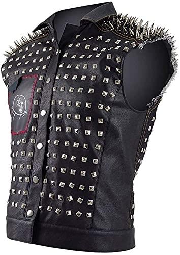 Chaleco motorista de cuero negro con tachuelas de plata y remaches punk para hombre con capucha extraíble