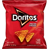 Pack of 40 one ounce bags Doritos tortilla chips with classic nacho cheese flavor Made of whole corn Crunchy straight from the bag or after scooping up dip or salsa These much loved treats are fun to enjoy at lunch, as an after-school snack, or party...