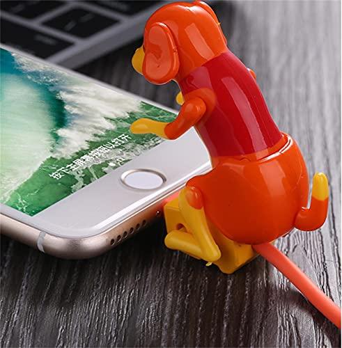 Cable de carga de perro callejero divertido Humping Dog Rogue Dog Toy Dog Toy Smartphone USB Cable Cable, para varios modelos de teléfonos móviles portátil, Mini Humping Spot Dog Toy,Orange iphone